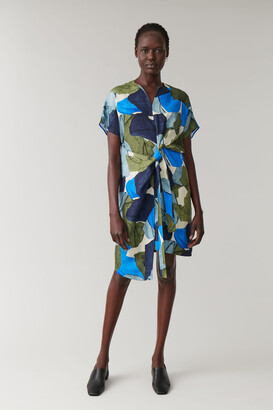 Cos Printed Linen-Mix Dress