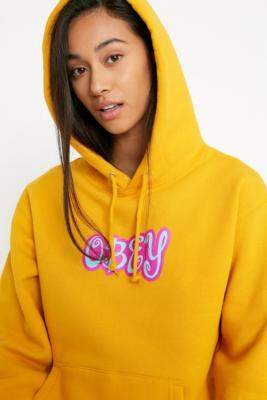 Obey Cute Logo Box Fit Hoodie - gold XS at Urban Outfitters
