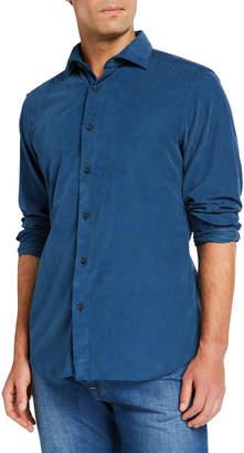 Neiman Marcus Men's Corduroy Sport Shirt, Medium Blue