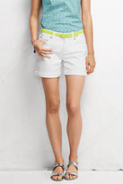 Lands' End Women's Petite Mid Rise Roll Cuff Shorts-White