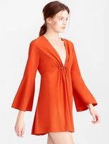 Halston Bell Sleeve Mini Crepe Dress