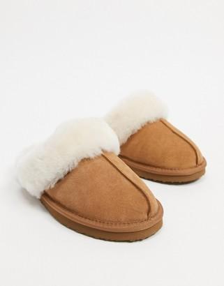 Redfoot sheepskin mule slippers in tan