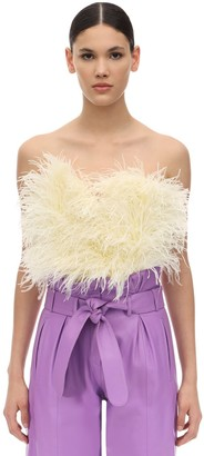 ATTICO The Strapless Feather Embellished Top