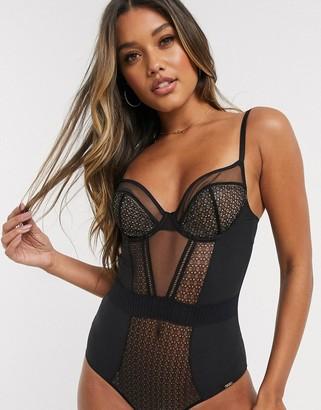 Gossard Graphic Luxe sheer mesh underwired bodysuit