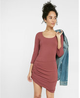 Express scoop neck asymmetrical ruched dress