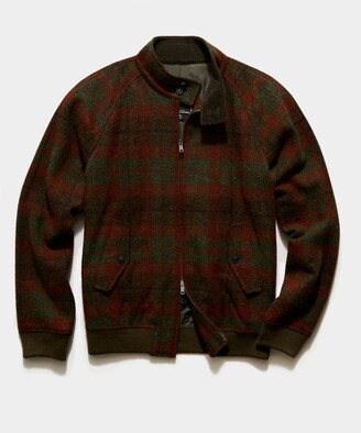 Todd Snyder Harris Tweed Varsity Jacket in Olive