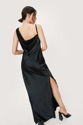 Nasty Gal Womens One Shoulder Cowl Neck Satin Maxi Dress - Black - 4
