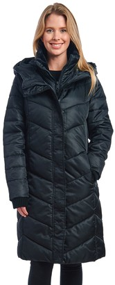 Fleet Street Women's Long Faux Down Coat with Faux Fur Collar