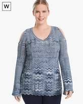 White House Black Market Plus Zigzag Cold-Shoulder Sweater
