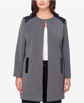 Tahari ASL Plus Size Faux-Leather-Trim Topper Jacket