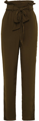 IRO Belted Crepe De Chine Tapered Pants