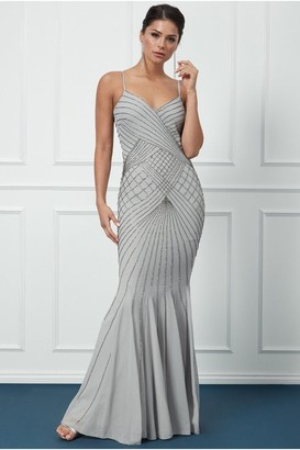 Goddiva Sleeveless Embellished Maxi Dress - Silver