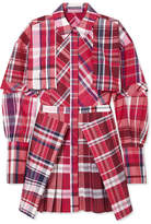 Alexander McQueen Checked Silk And Cotton-blend Poplin Mini Dress - Red