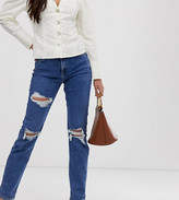 New Look Tall ripped chicago mom jeans in blue