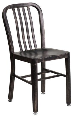 Phineas Metal Slat Back Side Chair Latitude Run Color: Black Antique Gold