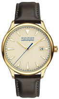 Movado Heritage Series Calendopan Ionic Goldplated Stainless Steel Leather Strap Watch