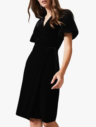 Phase Eight Angel Velvet Wrap Dress, Black