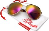 grinderPUNCH XL Wide Frame Aviator Sunglasses - Large 148mm Wide - Mirrored Lens - REVO Lens