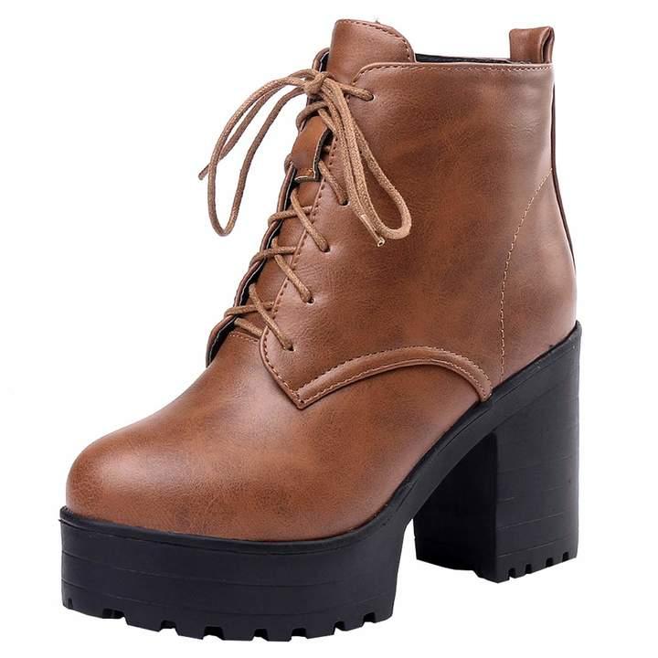 311d746e90868 Artfaerie Women's Block High Heel Lace Up Martin Boots Faux Fur Warm  Fashion Winter Ankle Boots(US 6, )