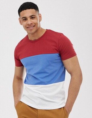 Selected organic cotton t-shirt colour block in red