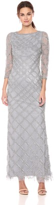 Adrianna Papell Women's Beaded Crosshatch Design Long Sleeve Gown