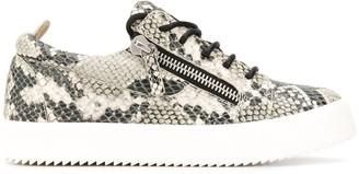 Giuseppe Zanotti Snake Effect Zipped Sneakers