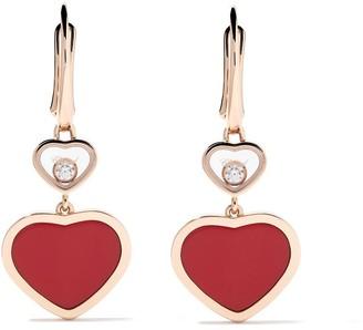 Chopard 18kt rose gold Happy Hearts diamond drop earrings