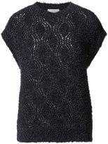 Brunello Cucinelli shortsleeved open knit blouse - women - Silk/Cotton/Polyamide/Acetate - XS