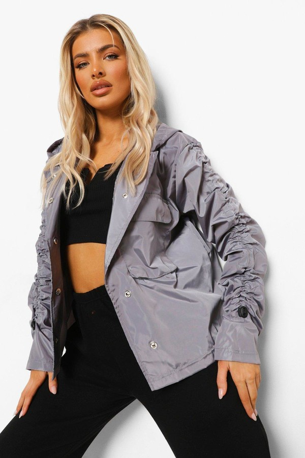 Thumbnail for your product : boohoo Ruched Sleeve Oversized Rain Mac