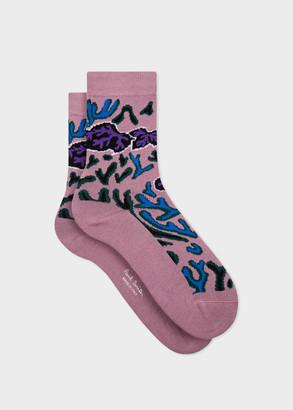 Paul Smith Women's Dusky Pink 'Climbing Ivy' Socks