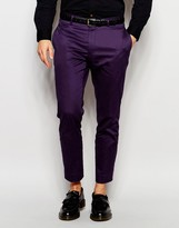 Asos Skinny Fit Smart Cropped Trousers In Cotton Sateen - Purple