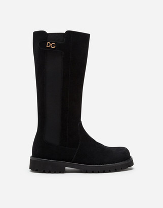 Dolce & Gabbana Suede Boots With Sheepskin Lining