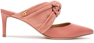 Tory Burch Suede-paneled Bow-embellished Leather Mules