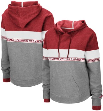 Colosseum Women's Heathered Gray Alabama Crimson Tide Hobbes Woven Tape Pullover Hoodie