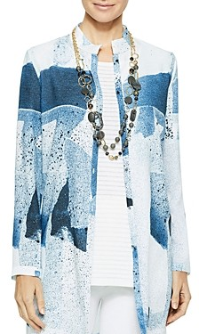 Misook Abstract Pattern Button-Front Tunic Blouse