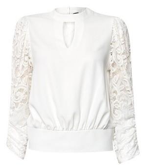 Dorothy Perkins Womens Ivory Lace Sleeve Shirred Hem Top, Ivory