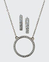 Thumbnail for your product : Helena Girl's Sterling Silver Cubic Zirconia Circle Necklace w/ Matching Hoop Earrings Set