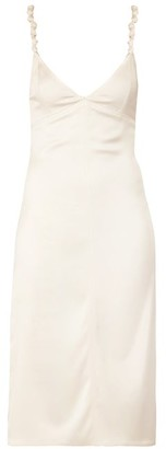 Bottega Veneta Knotted-strap Satin Pencil Dress - Womens - Ivory
