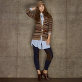 Rugby Fair Isle Suede-Patch Cardigan