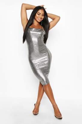 boohoo Metallic Strappy Midi Dress