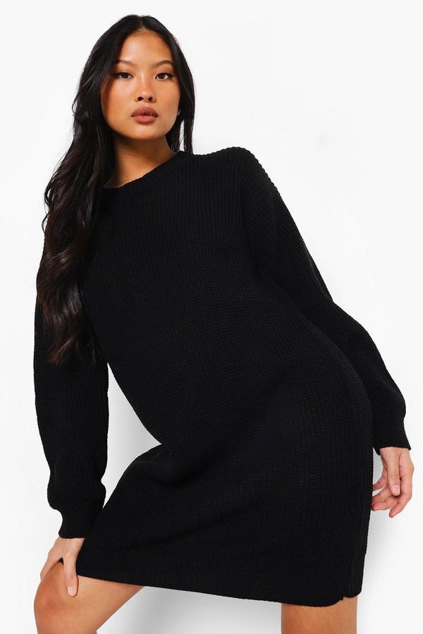 boohoo Petite Crew Neck Sweater Dress