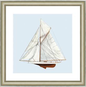 Vintage Print Gallery Nautical Motifs Sailboat Framed Print