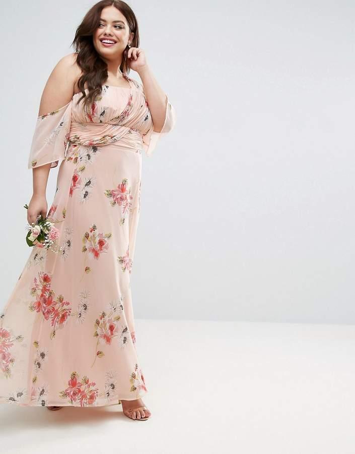 Asos Wedding One Shoulder Maxi Dress In Summer Rose Bouquet Print