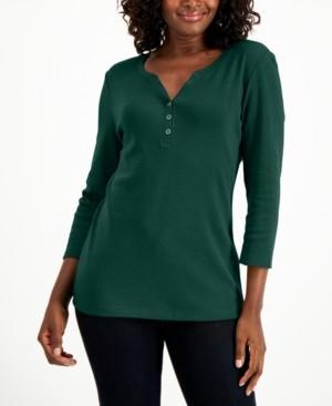 Karen Scott Cotton 3/4-Sleeve Henley Top, Created for Macy's