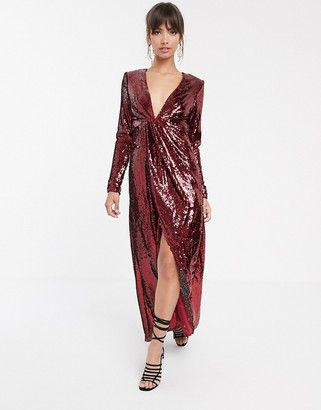 Asos Edition EDITION plunge asymmetric maxi dress in sequin-Red