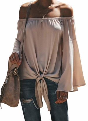 Actloe Women Sexy Off Shoulder Long Bell Sleeve Solid Shirts Casual Tie Knot Front Blouses Maternity Tops Apricot X-Large