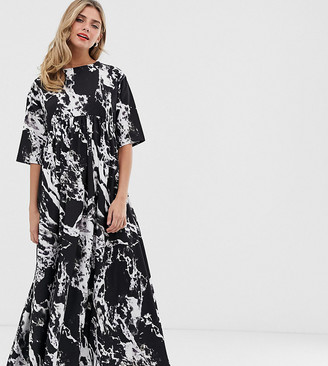Another Reason tie back maxi smock dress in marble