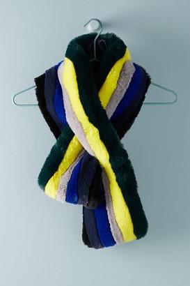 Kule Striped Faux Fur Scarf By in Assorted