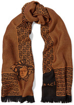 Versace Fringed Two-Tone Intarsia-Knit Wool Scarf