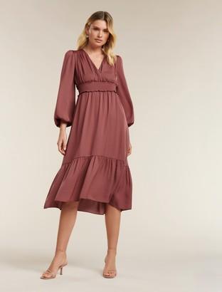 Forever New Eloise Petite Long-Sleeved Midi Dress - Burnt Berry - 10